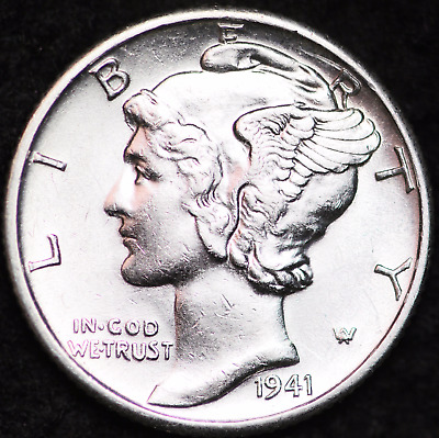 1941-D Au Mercury Dime / Denver Mint Almost Uncirculated 90% Silver Coin