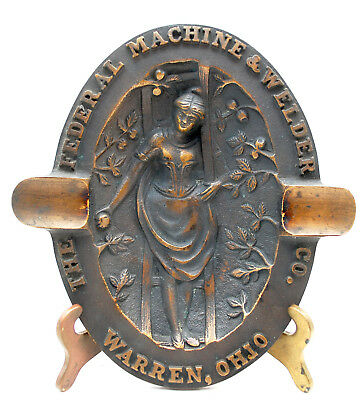 Antique Art Nouveau Bronze Advertising Ashtray Risque Federal Machine Warren Oh