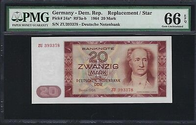 Germany, Democratic Republic 1964 P-24a* PMG Gem UNC 66 EPQ 20 Mark *Replacement