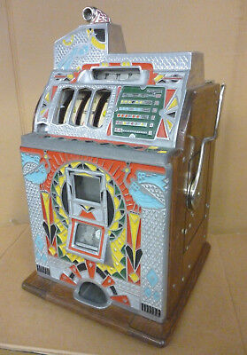 "Rare & Exceptional 1930s Antique Slot Machine - Jennings ""Peacock"" w/ Escalator"
