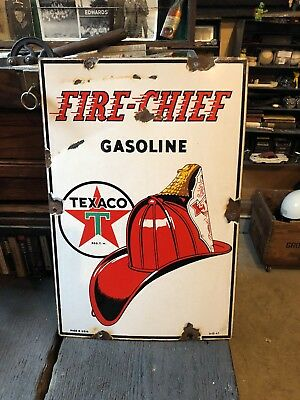 Vintage 1947 Texaco Fire-Chief Gasoline Porcelain Metal Sign Original VG Cond