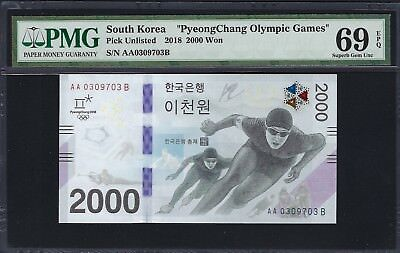 South Korea 2018 PMG Superb Gem UNC 69 EPQ 2000 Won *PyeongChang Commemorative*