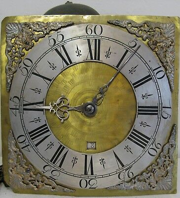 Early 18th Century Quaker 30 Hour Dial & Movement 10 inch..