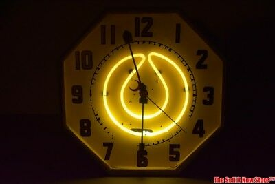 Vintage Yellow Neon Products Lima Ohio Octagon Lighted Electrical Clock