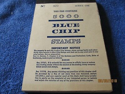 Pad of 5000 Blue Chip Trading Stamps Unused Series One #920