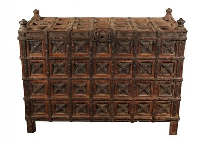 Massive Antique India Carved Wood Dowry Chest (60963)