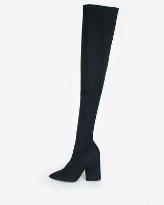 6976c6e900a Yeezy Season 4 Black Canvas Thigh High Boots with 100 mm heel KANYE WEST KIM