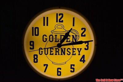 Vintage Neon Products Inc Golden Guernsey Dairy Advertising Lighted Wall Clock