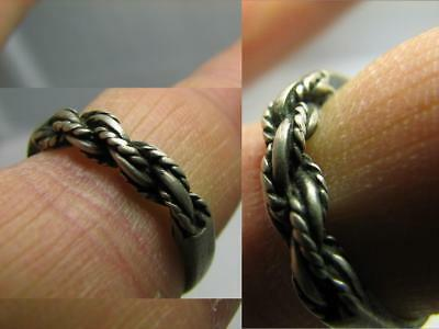 Very Nice Old Vintage Twisted Sterling Silver Ring #356