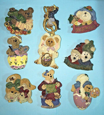 "9 different TBC,Janco, & Boyds Bears - 2"" Figure Pins- Mixed Themed Lot"