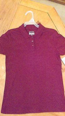 Burgundy Red School Uniform Polo Shirt Short Sleeves Girl's Size 10 - 12 NWT