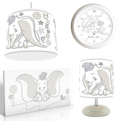 DISNEY DUMBO Nursery Bundle Light Shade, Lamp , Clock, Canvas Art, FREE P&P