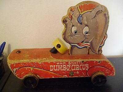 Vintage Fisher Price Disney Rolling Dumbo Wood 1940's No 738 Made in USA