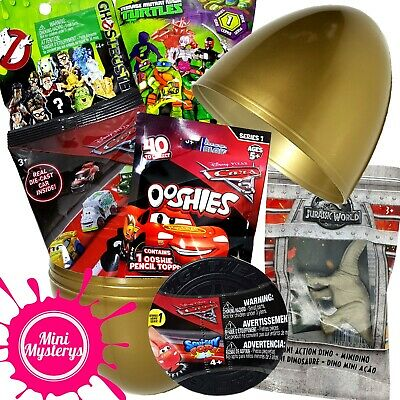 SURPRISE EGG GIFT BUNDLE 7 TOYS Disney Cars, Ooshies, Ice Racers Blind Bags
