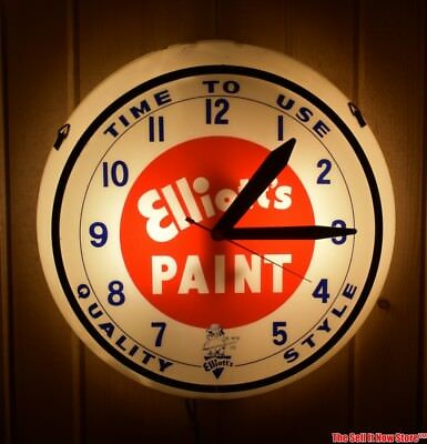 "Vintage Time to Use Elliott's Paint Advertising Lighted 16.5"" Diameter Clock"