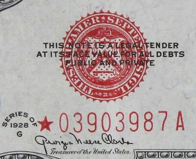 $2 1928G Star large red seal US Note *03903987A two dollar series G, FREE SHIP.