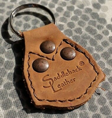 Saddleback Leather Key Chain Fob - Old Design - Tobacco Light Brown unused