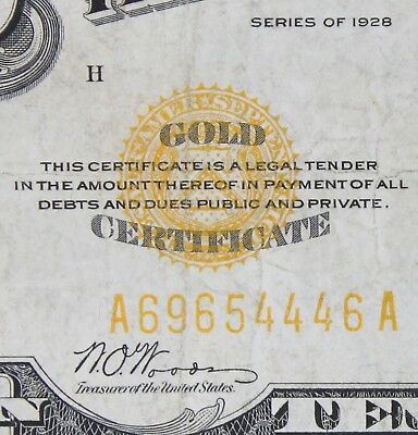 $10 1928 gold certificate A69654446A Key single year issue ten dollar FREE SHIP.