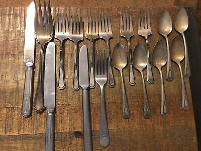 17 Pieces Mixed Lot Silverplate Flatware + U.S.N. Knife & Fork