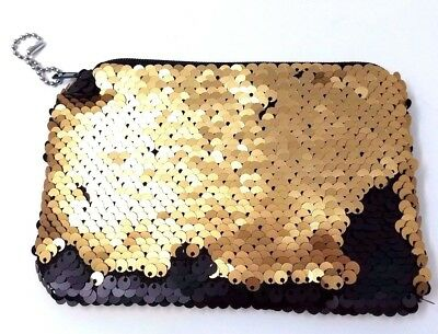 Two Tone Sequins Decorated Women's Small Zip Wallet, Keychain - Please Choose!