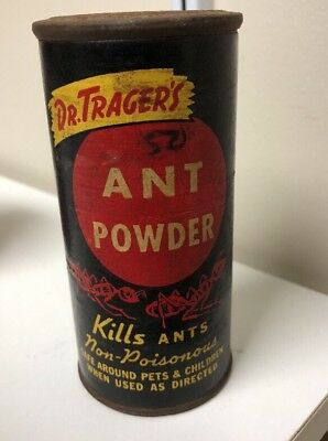ANTIQUE ANT POISON TIN Dr TRAGER'S VTG INSECT KILLER CAN Sign OLD Scranton Pa