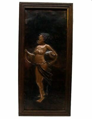 Vintage Large Nude African Woman Bronze High Bas-Relief Wall Plaque
