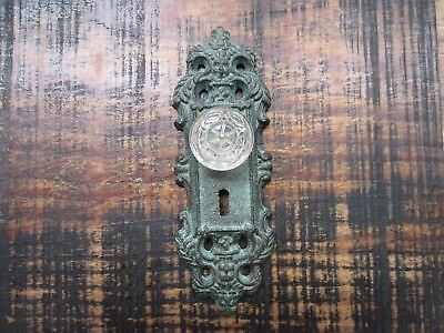 Cast iron door plate coat/robe hook painted antique Teal with glass/acrylic knob