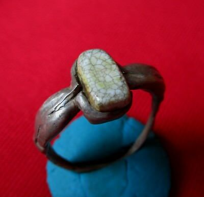 > TWO DOLPHINS < Ancient Roman SILVER RING WITH STONE . circa 50 AD.