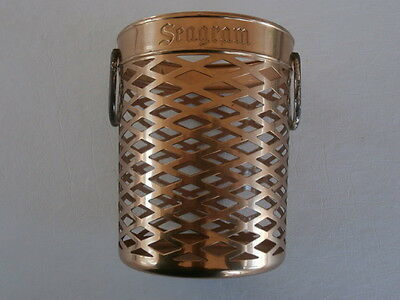 Vintage Seagrams SWIZZLE STICK HOLDER BRASS TONE Basket Barware Seagram