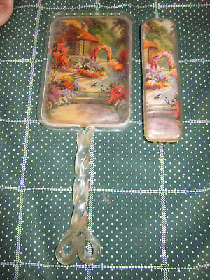 Vintage Brush And Mirror Set Cottage Print **************