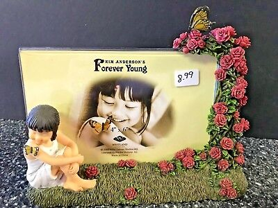 *NEW Kim Anderson's Forever Young Picture Photo Frame Girl Butterfly Roses 4x6