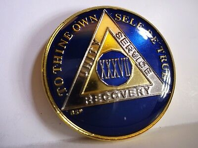 AA BSP Blue Gold 37 Year Coin Tri-Plate Alcoholics Anonymous Medallion Top Grade