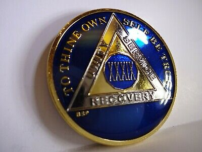 AA BSP Blue Gold 38 Year Coin Tri-Plate Alcoholics Anonymous Medallion Top Grade