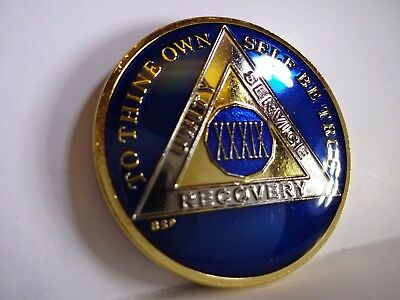 AA BSP Blue Gold 39 Year Coin Tri-Plate Alcoholics Anonymous Medallion Top Grade