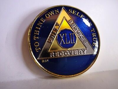 AA BSP Blue Gold 42 Year Coin Tri-Plate Alcoholics Anonymous Medallion Top Grade