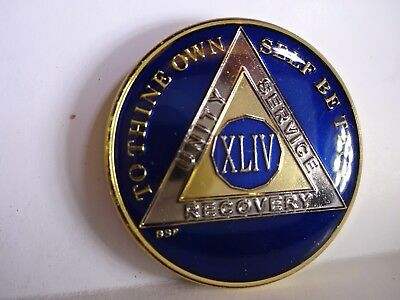 AA BSP Blue Gold 44 Year Coin Tri-Plate Alcoholics Anonymous Medallion Top Grade