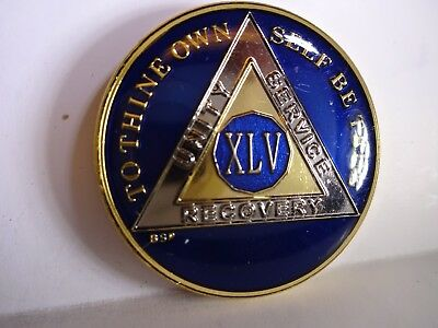 AA BSP Blue Gold 45 Year Coin Tri-Plate Alcoholics Anonymous Medallion Top Grade