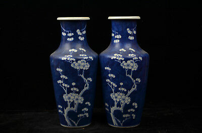 Pair Fine Beautiful Chinese  blue and white porcelain vase