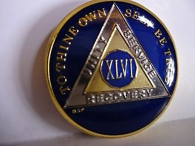 AA BSP Blue Gold 46 Year Coin Tri-Plate Alcoholics Anonymous Medallion Top Grade