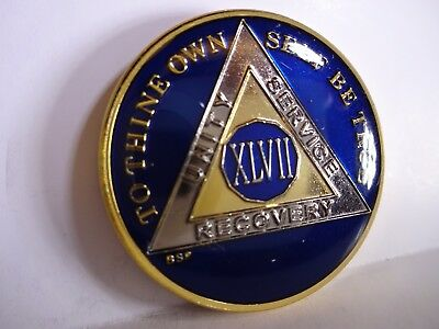 AA BSP Blue Gold 47 Year Coin Tri-Plate Alcoholics Anonymous Medallion Top Grade