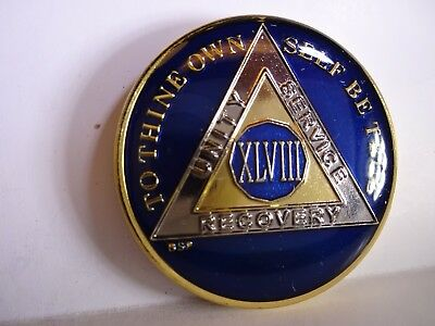 AA BSP Blue Gold 48 Year Coin Tri-Plate Alcoholics Anonymous Medallion Top Grade