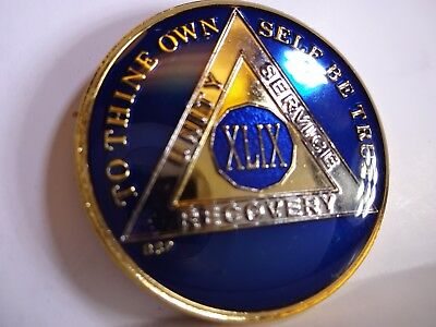 AA BSP Blue Gold 49 Year Coin Tri-Plate Alcoholics Anonymous Medallion Top Grade