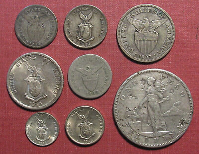 Lot Of (8) Philippines Coins, U.s. Admin. Or Commonwealth - (6) Silver!