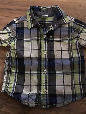 Gymboree Auto Crew Boys Short Sleeve Button Up Shirt Size 12-18 Months