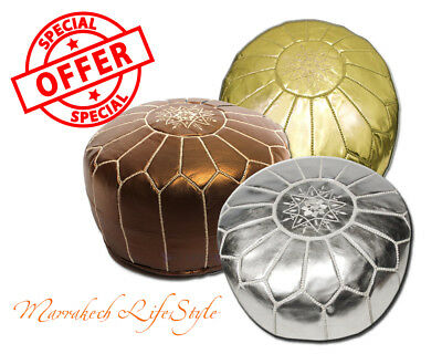 Free Express Shipping LOT OF 3 MOROCCAN METALLIC POUF OTTOMAN GOLD SILVER BRONZE
