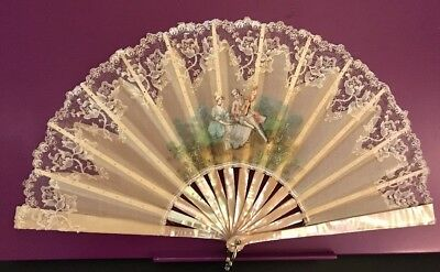 Vintage Lace & Mother Of Pearl Folding Hand Fan 1900's In Box