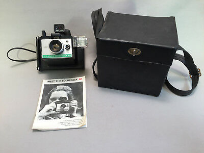 Polaroid Colorpack 85 Camera, Manual, Case& Sylvania Blue Dot Flashcube UNTESTED