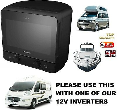 Motorhome modern Microwave ideal campervan. Black designer style oven for camper