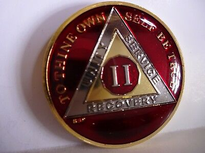 AA BSP Red Gold 2 Year Coin Tri-Plate Alcoholics Anonymous Medallion Top Grade