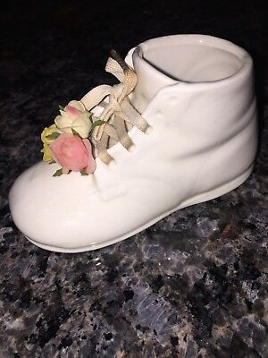 Vintage baby shoe with flowers